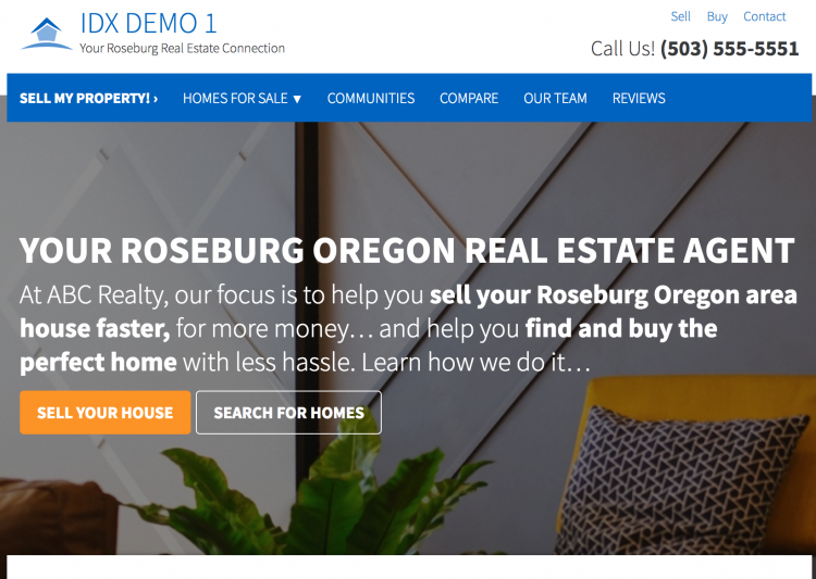 real estate websites with idx roseburg oregon example