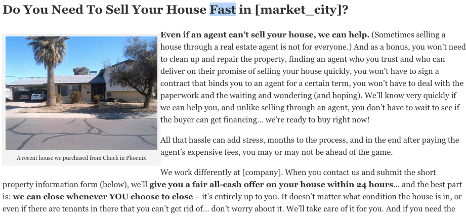 custom real estate investing website content