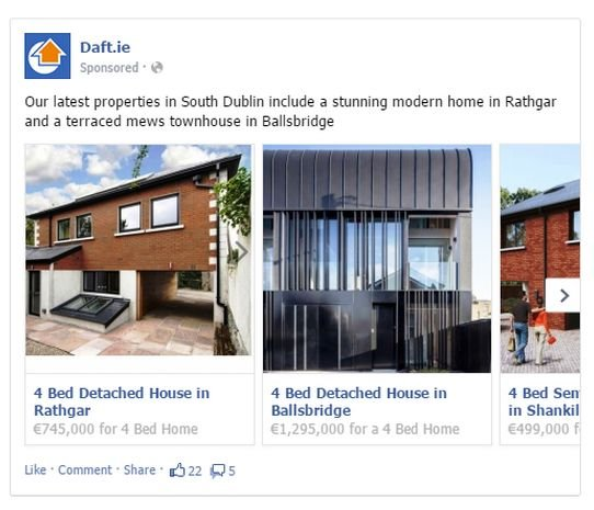 real estate facebook ads example carousel ads