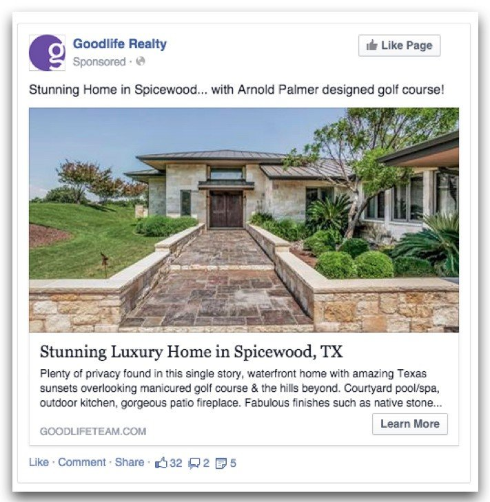 real estate facebook ad example