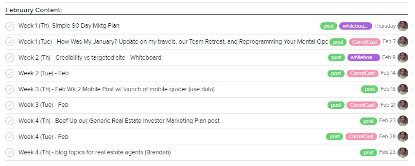 investorcarrot content calendar