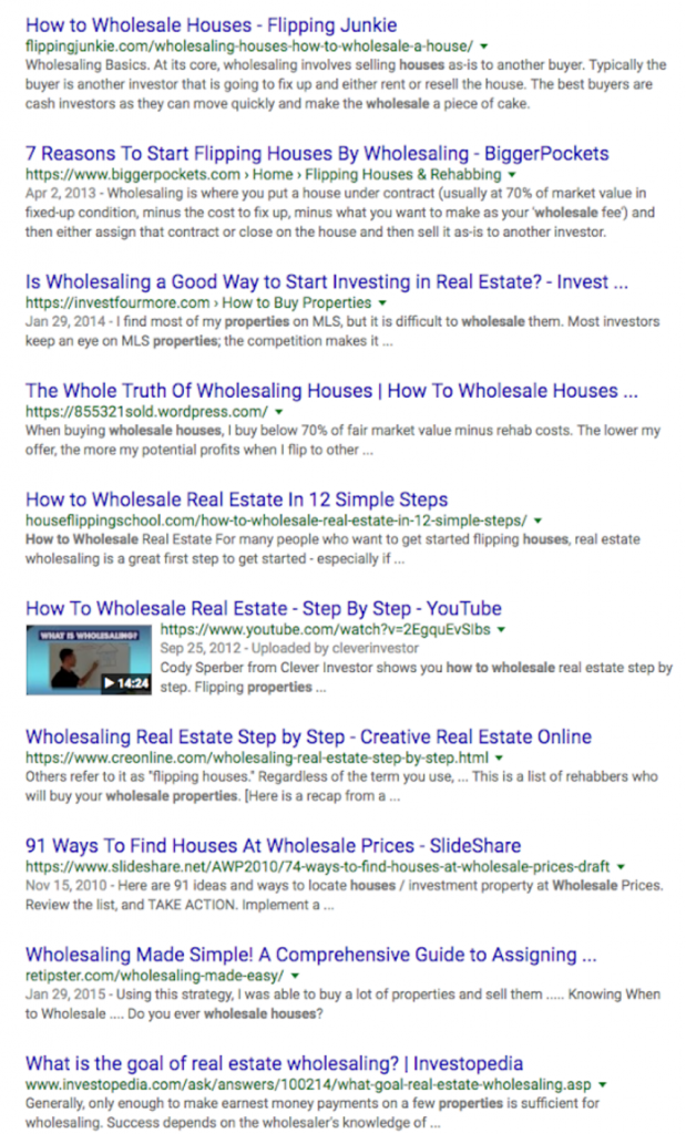 real estate copywriting organic results on google descriptions