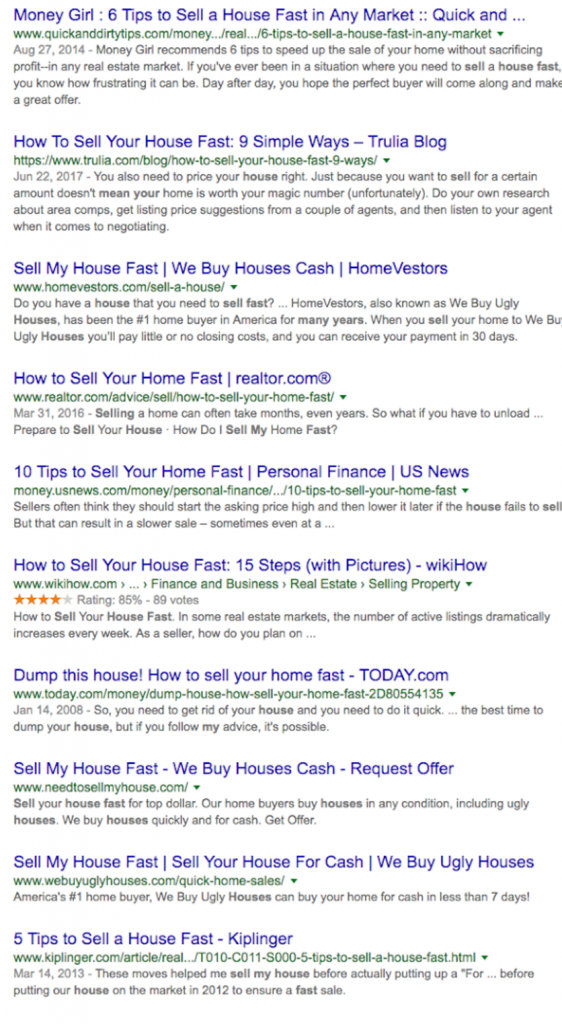 real estate copywriting organic results on google