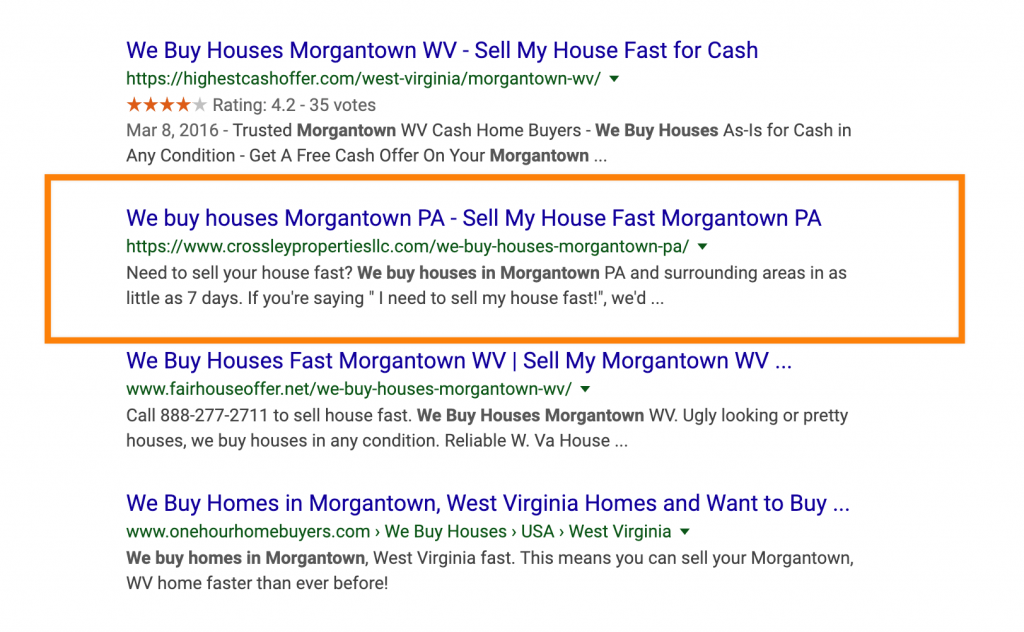 google search rankings for we buy houses in morgantown