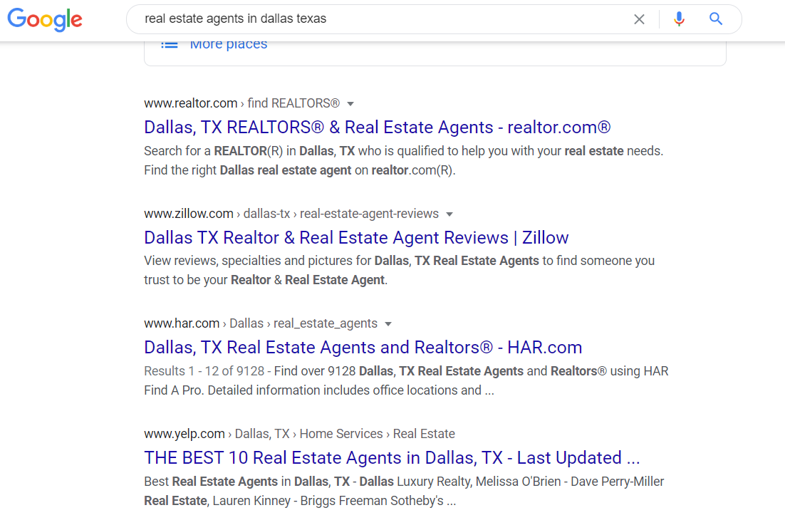 real estate agent website SEO
