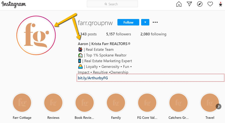 Instagram real estate profile