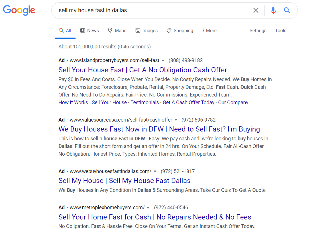 sell my house fast in dallas paid ads