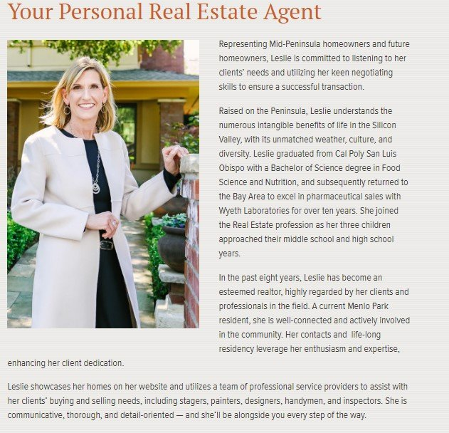 real estate agent bio example