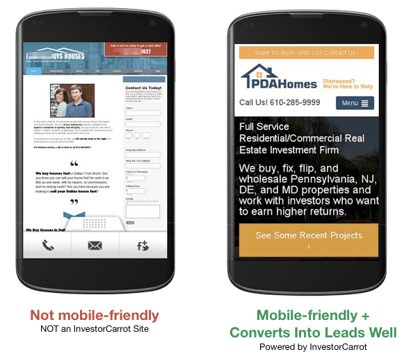 mobile optimized websites for real estate investors