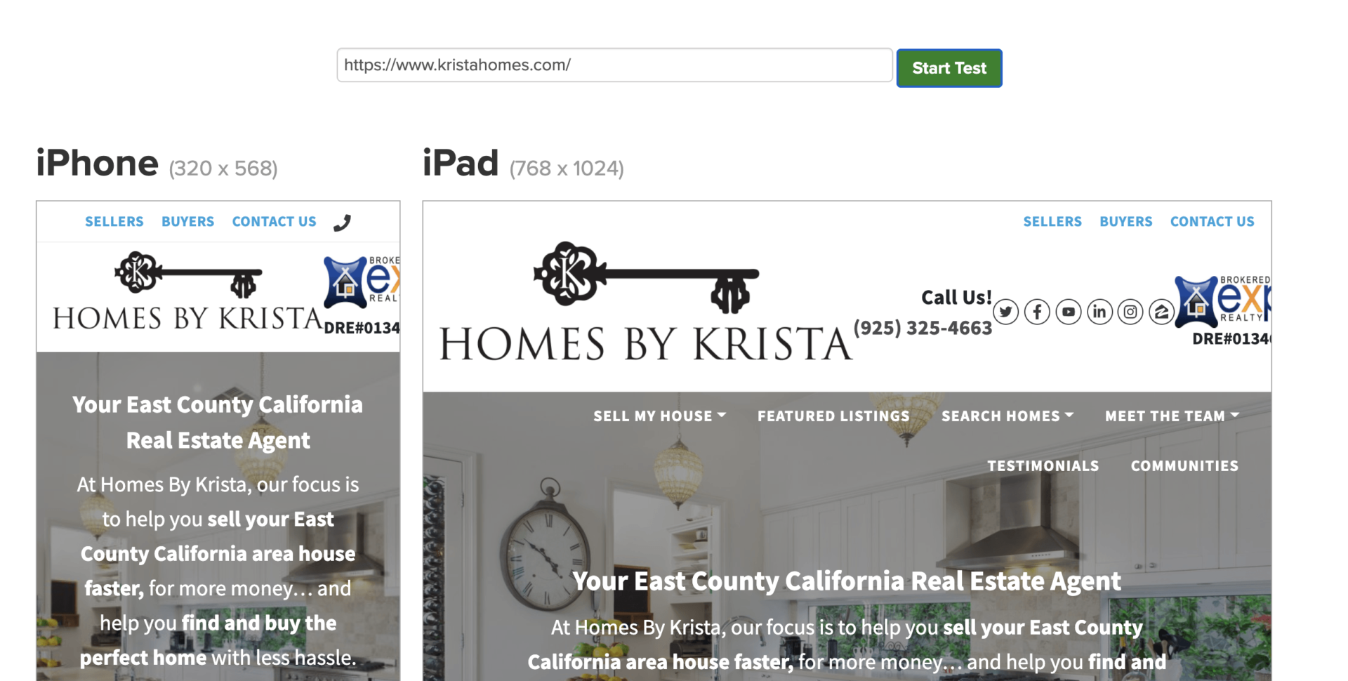 mobile responsive real estate agent website