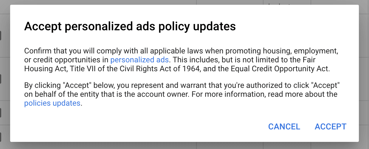 accept the new Google Ads Housing Policy