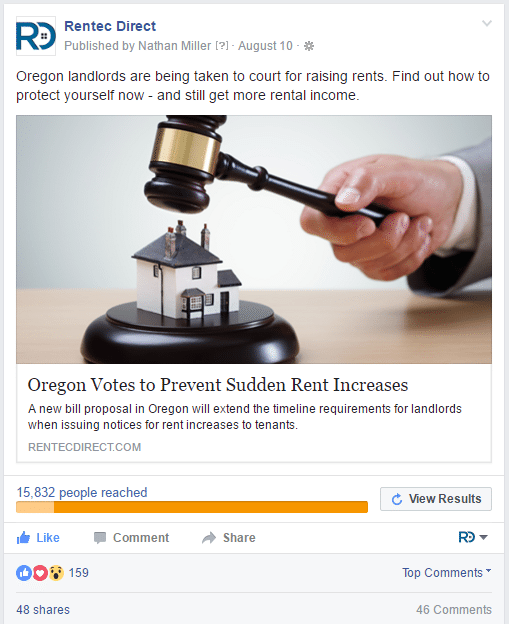 facebook ads for real estate rentec direct post example