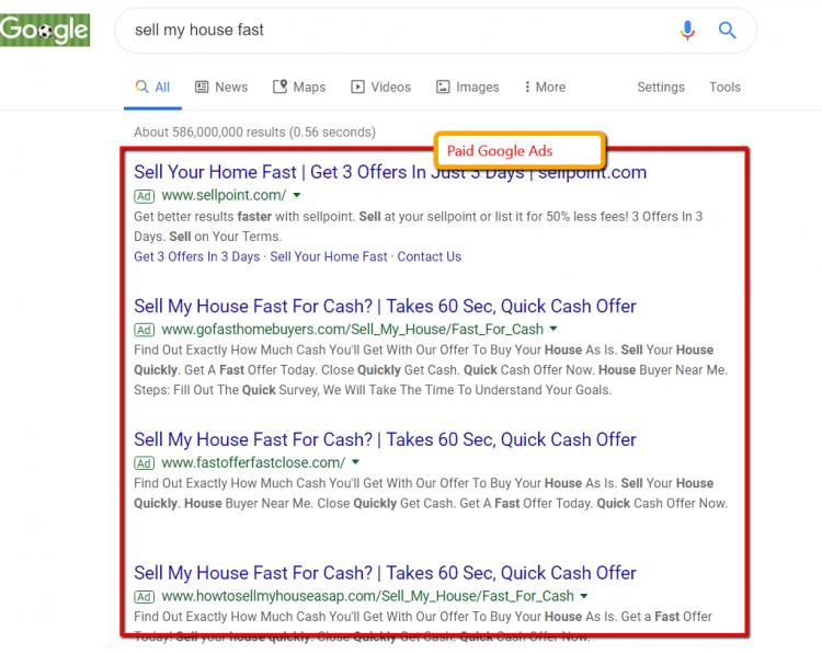 google search results for sell my house fast