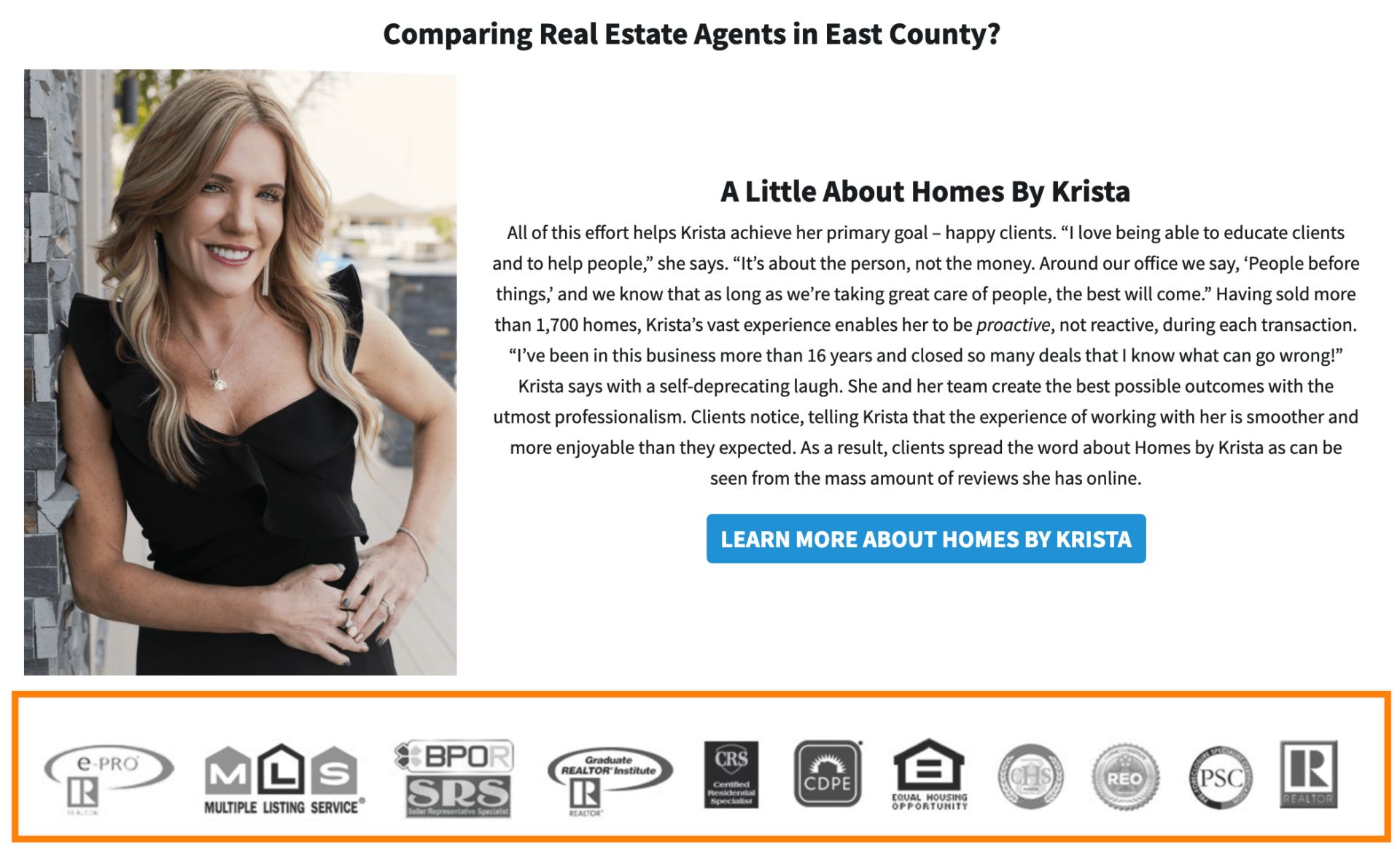 real estate agent website credibility