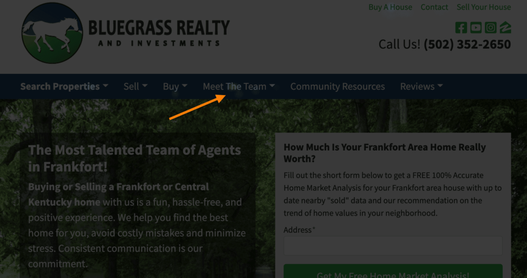 real estate agent website heat map test