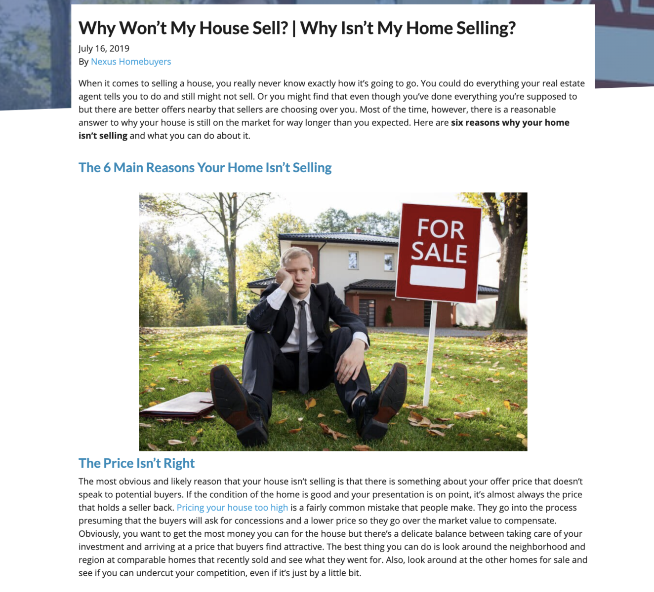real estate blog content