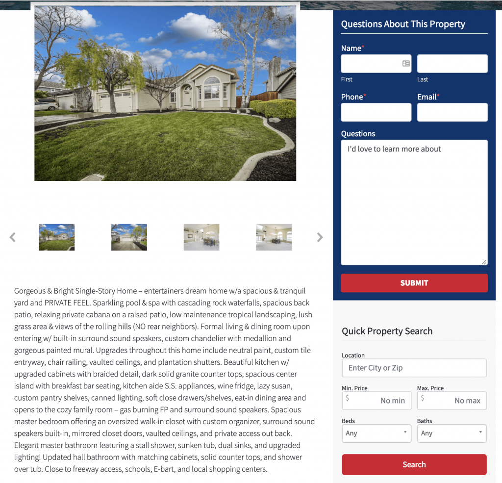 real estate website property descriptions