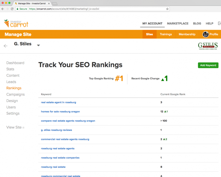 Carrot SEO ranking tracker