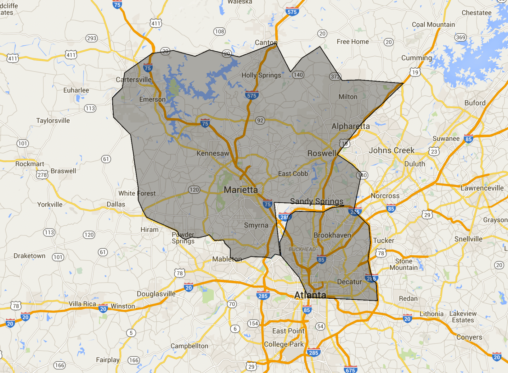 we we buy houses fast in Atlanta GA Map