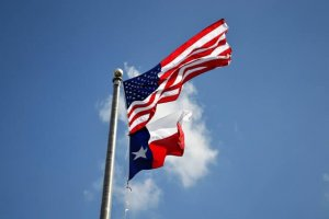 flag flying over Arlington Texas neighborhood