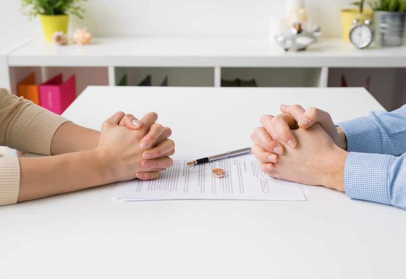 couple going over divorce documents
