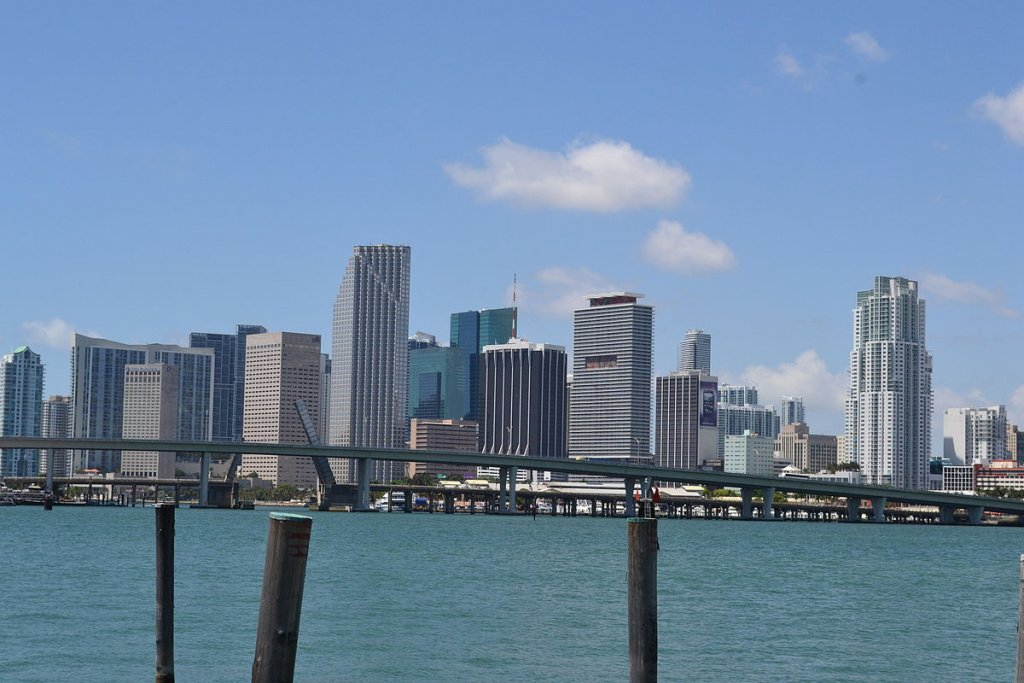 skyline view of downtown Miami FL