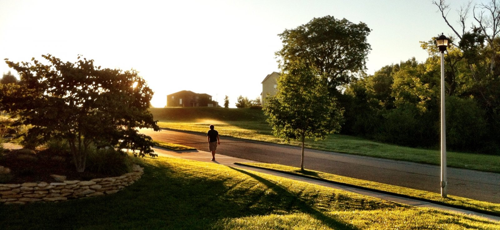 Man running in neighborhood