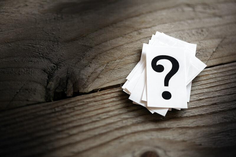 Question mark heap on table