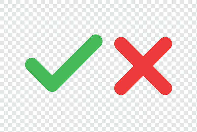 checkmark and xmark