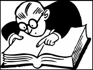 illustration of man reading law book