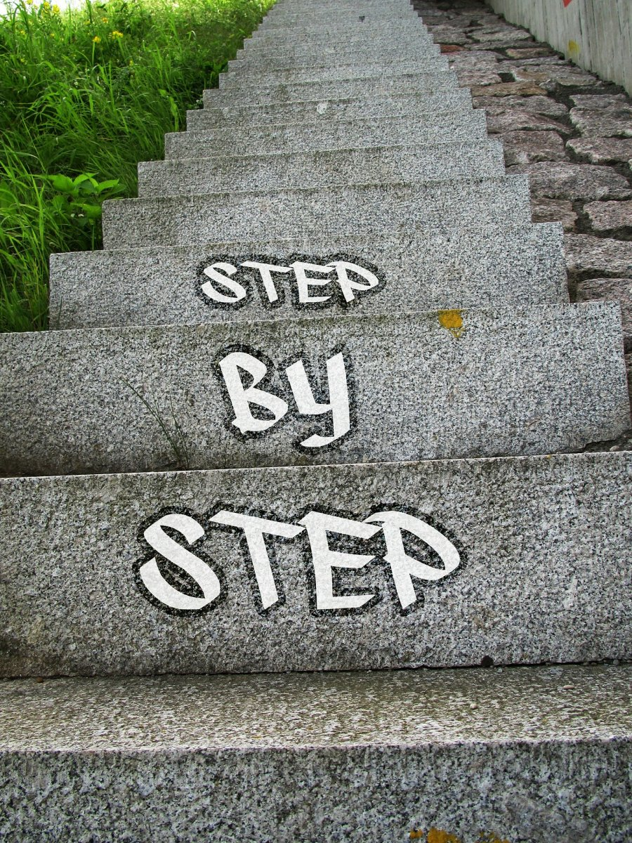step by step written on stairs