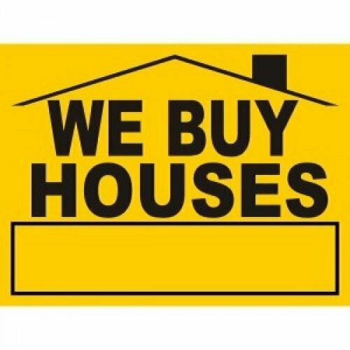 a yellow we buy houses sign with black letters used to market to people that want to sell my house fast in utah