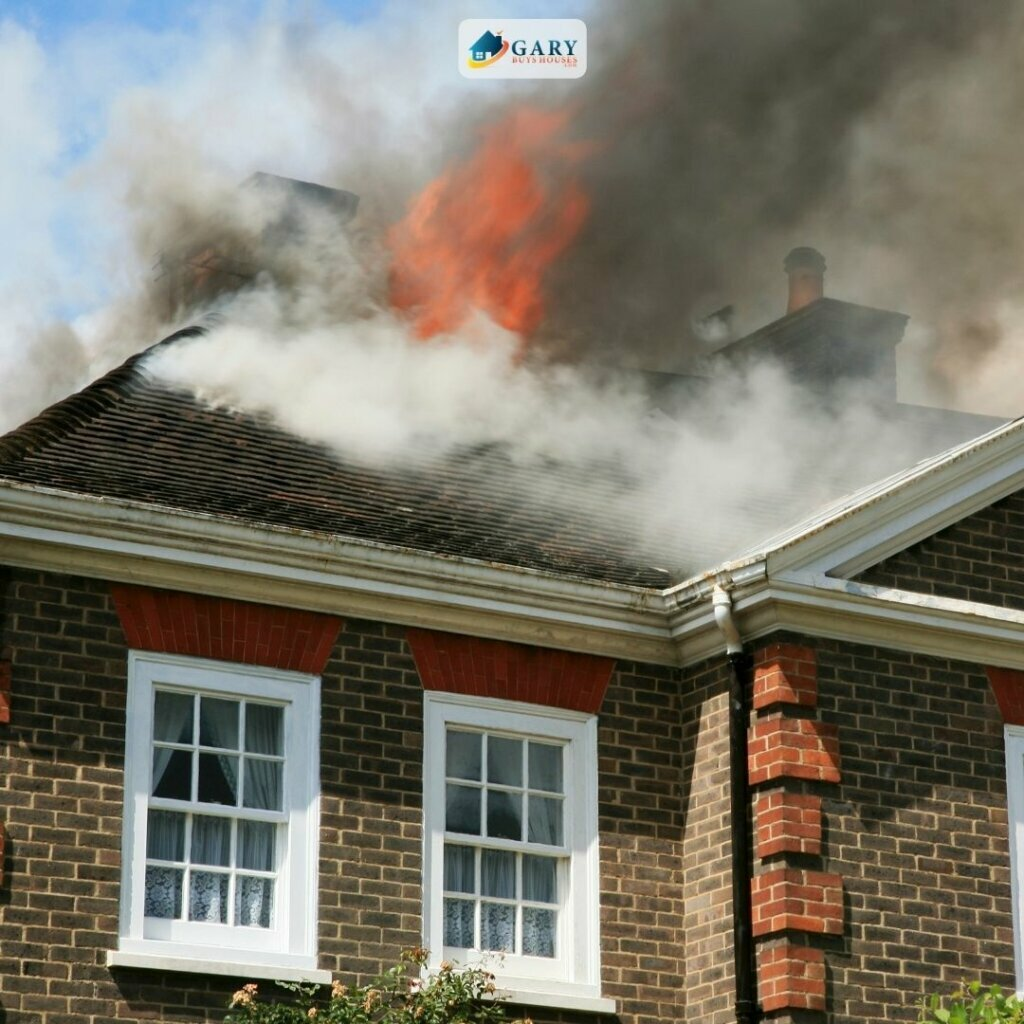 red brick house fire damage for sale