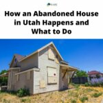 An abandoned house in Utah with boarded up windows and brown grass