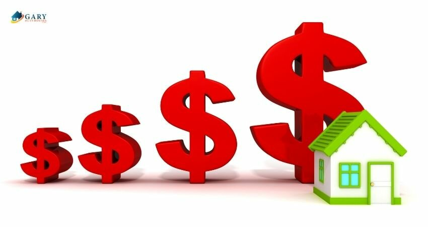 model home in front of dollar signs of increasing sizes
