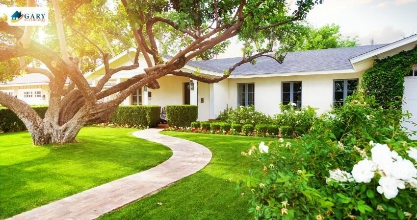 home with a well groomed front yard