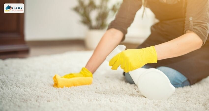 woman deep cleaning carpet to increase home value