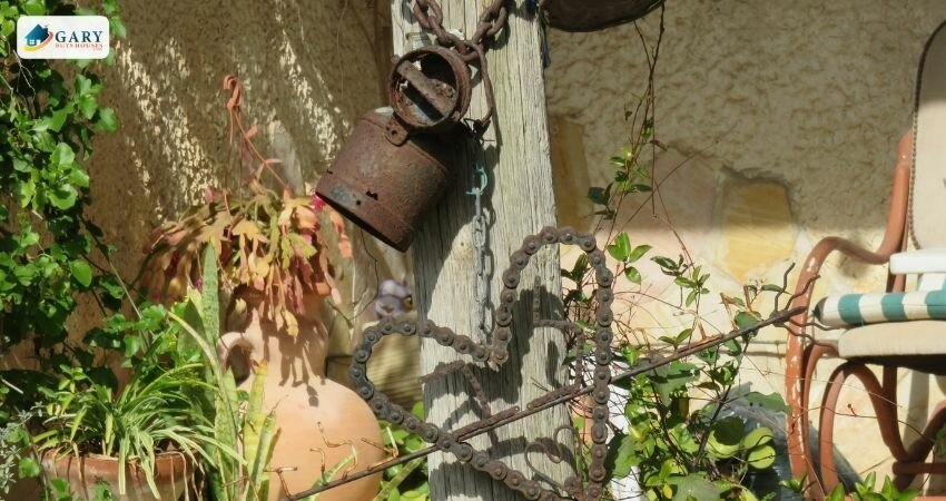 old yard furniture and decorations