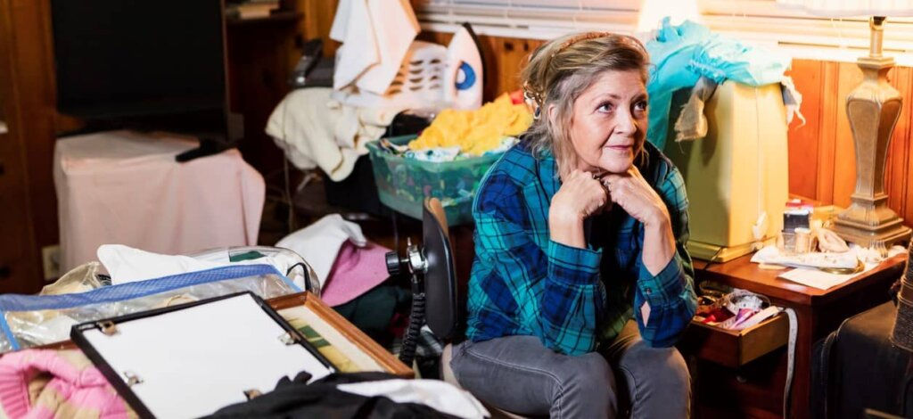 lady in a hoarder house