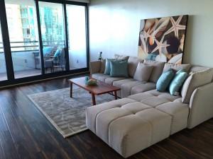 Luxury condo Honolulu - Nauru Tower - living room