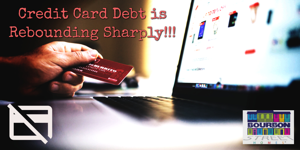 credit card debt is rebounding sharply so this image shows a person using their credit card to purchase something online like Amazon.com where the balance of their credit card has increased or will increase