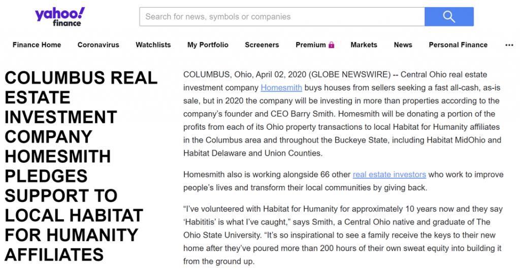 Yahoo Finance Story on Homesmith   Homesmith Buys Houses Columbus OH   1-877-HOMESMITH