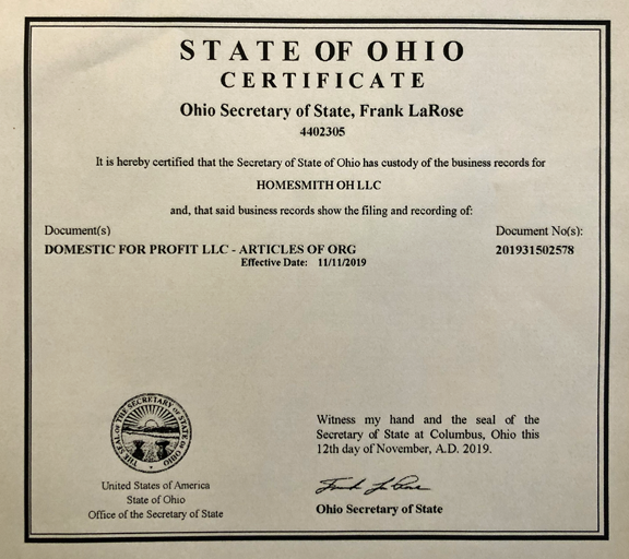 State of Ohio Certificate | Homesmith OH LLC | 1-877-HOMESMITH