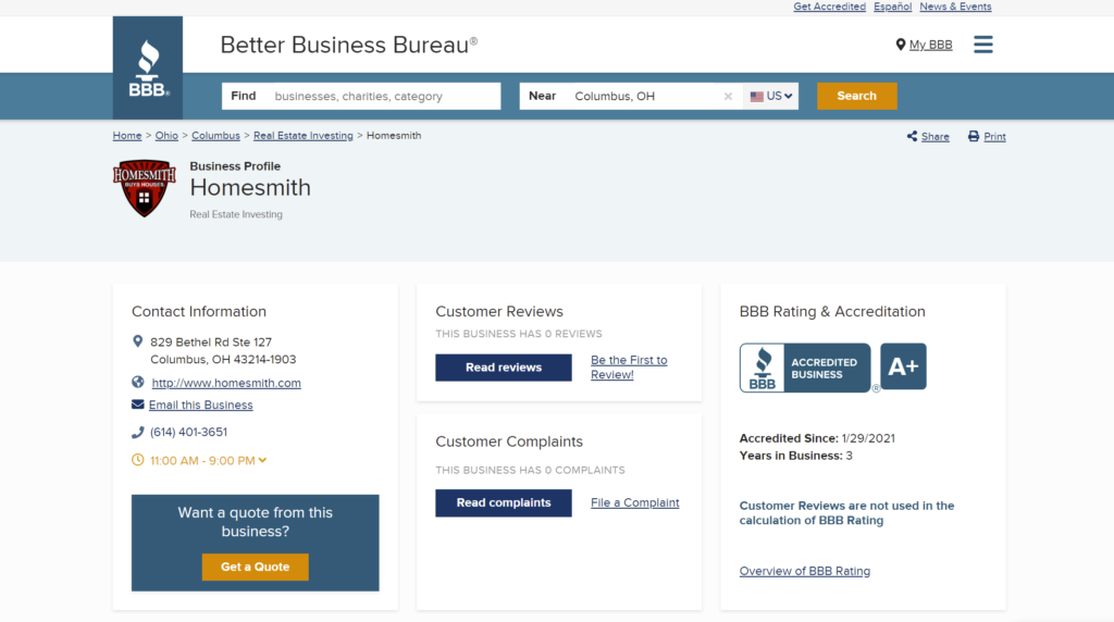 BBB A+ Accredited Page