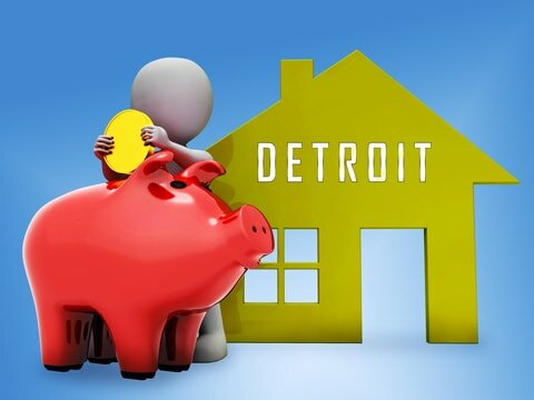 detroit michigan house being sold for cash with piggy bank