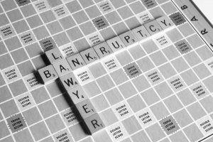 Scrabble Board with Bankruptcy Lawyer