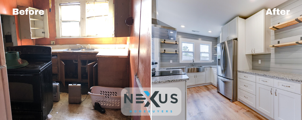 before and after of a house bought by Nexus Homebuyers