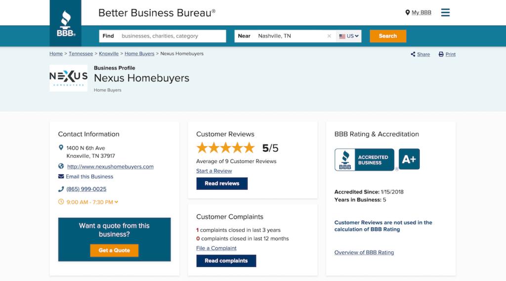 Nexus Homebuyers BBB profile