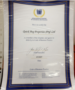 Quick Buy Properties JCCI membership certificate