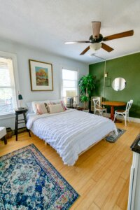 Bedroom with painted ceiling in Lodi, NJ.